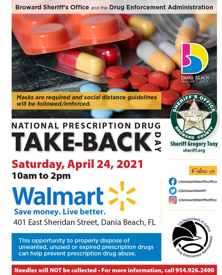 DEA Drug Take Back April 24 2021 in Dania Beach