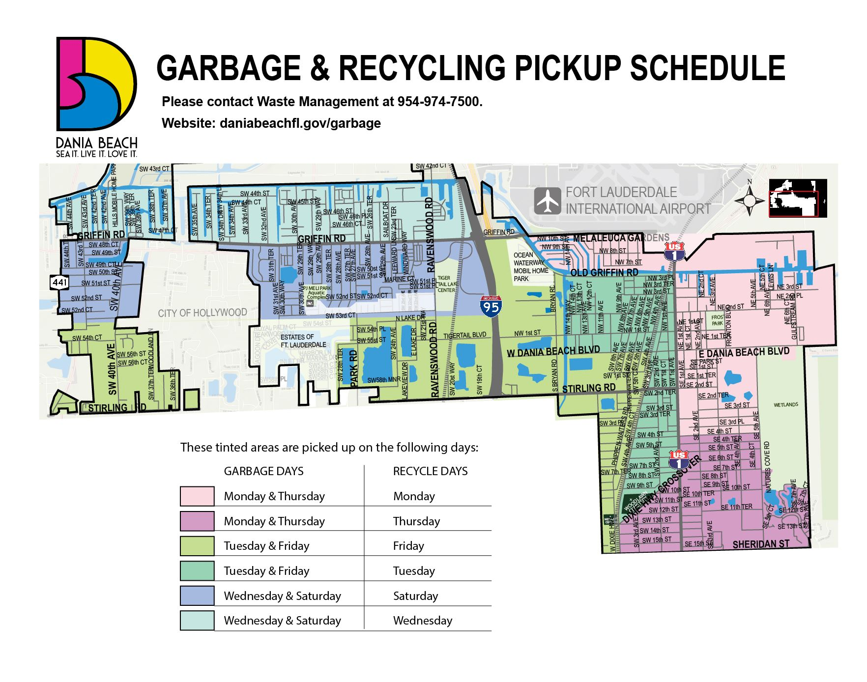 Dania Beach Garbage Recycling Pickup Map