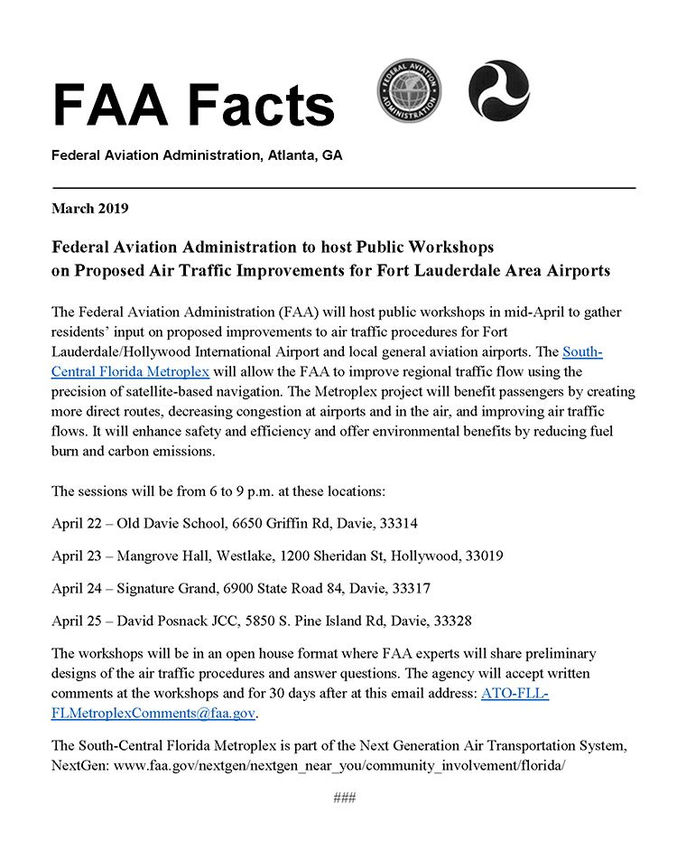 FAA to host Public Workshops FLL Dania Beach Airport